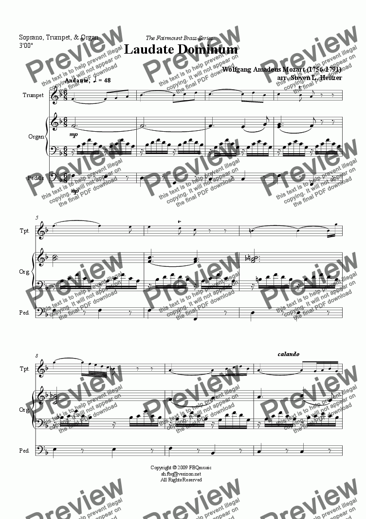 page one of Laudate Dominum - Soprano, Trumpet, & OrganASALTTEXT