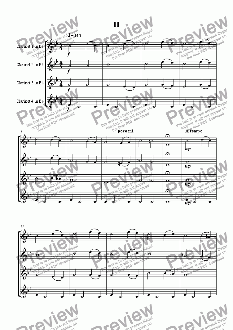 page one of Clarinet Quartet 2