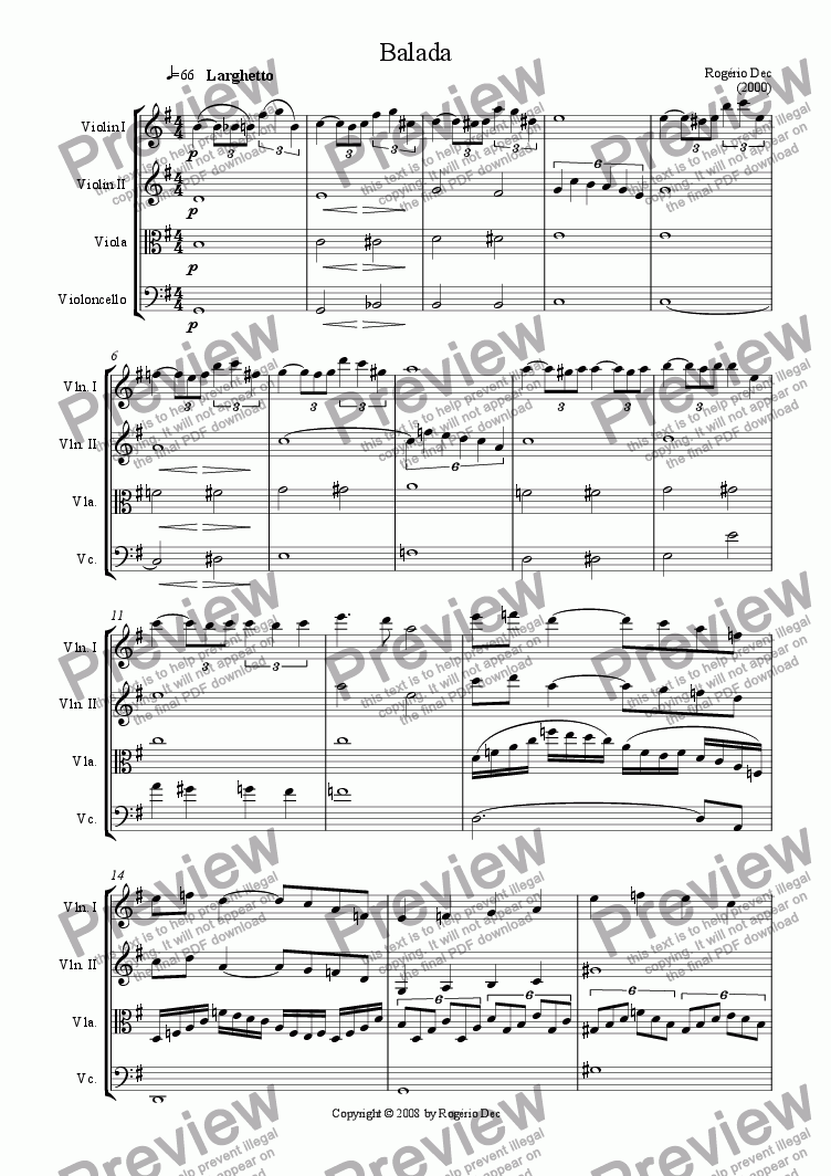 page one of Balada for String QuartetASALTTEXT