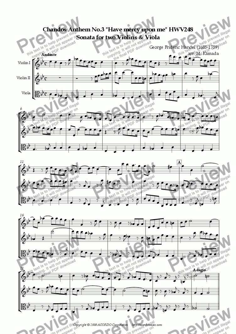 "page one of Chandos Anthem No.3 ""Have mercy upon me"" HWV248 Sonata for two Violins & Viola"