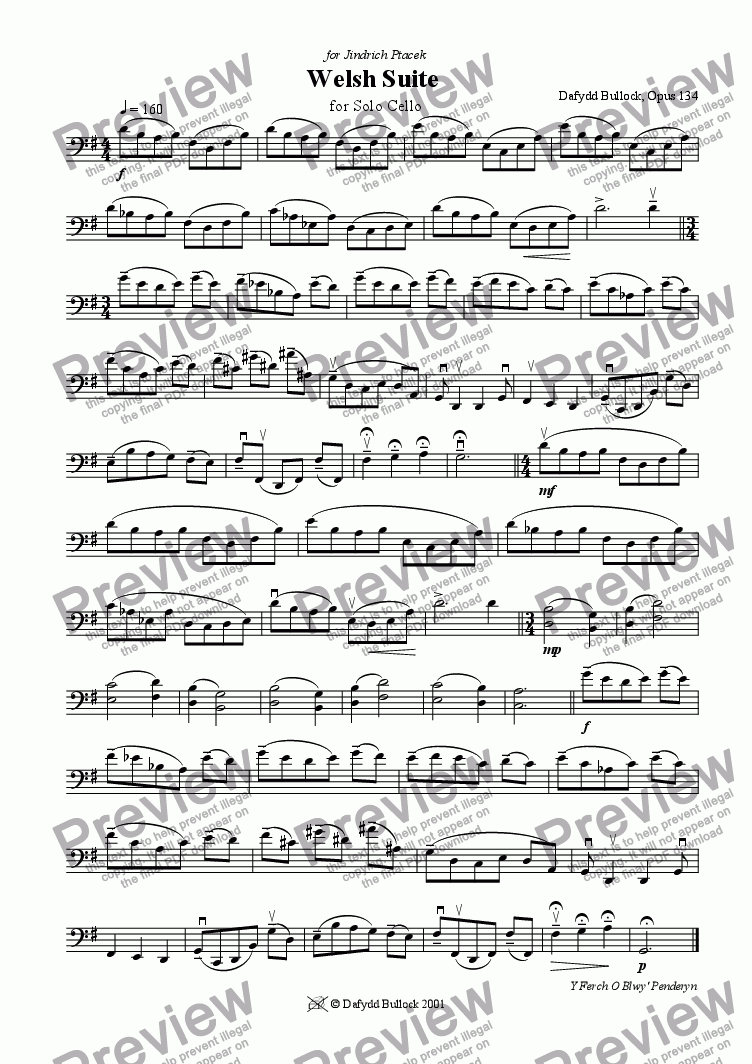 page one of Welsh Suite for Solo Cello 1