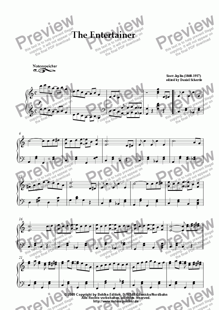 page one of The Entertainer, very easy to play (S. Joplin)