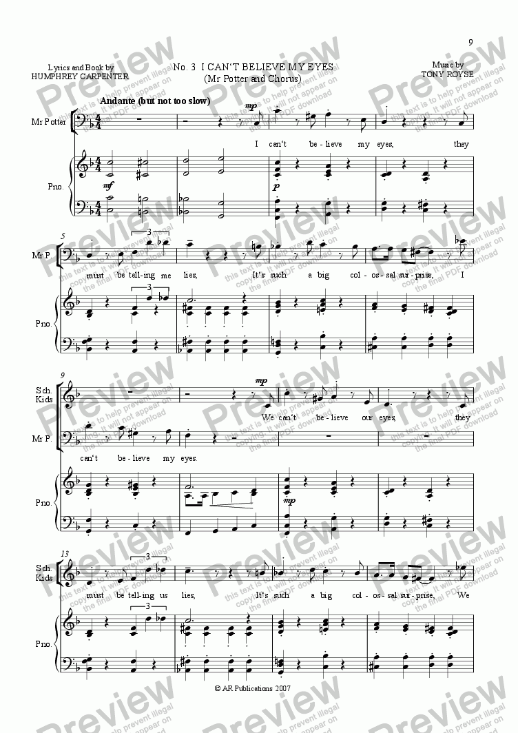 page one of Mr Majeika  Vocal Score  (03 of 22)