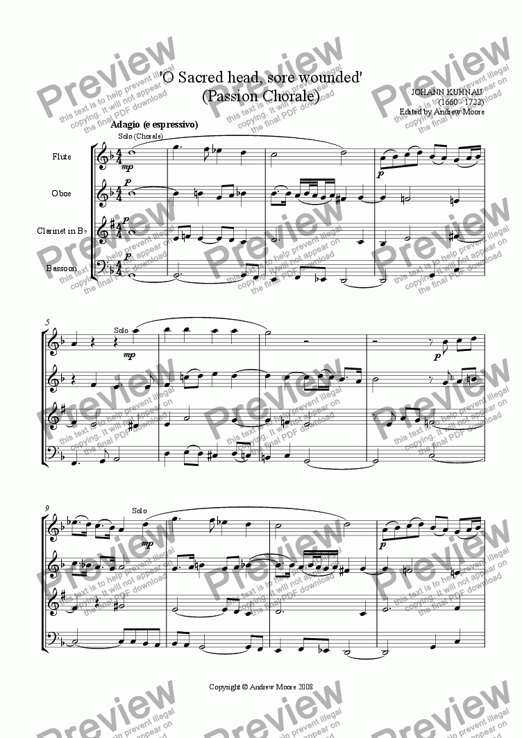 page one of Passion Chorale - O Sacred Head Sore Wounded' for Wind Quartet