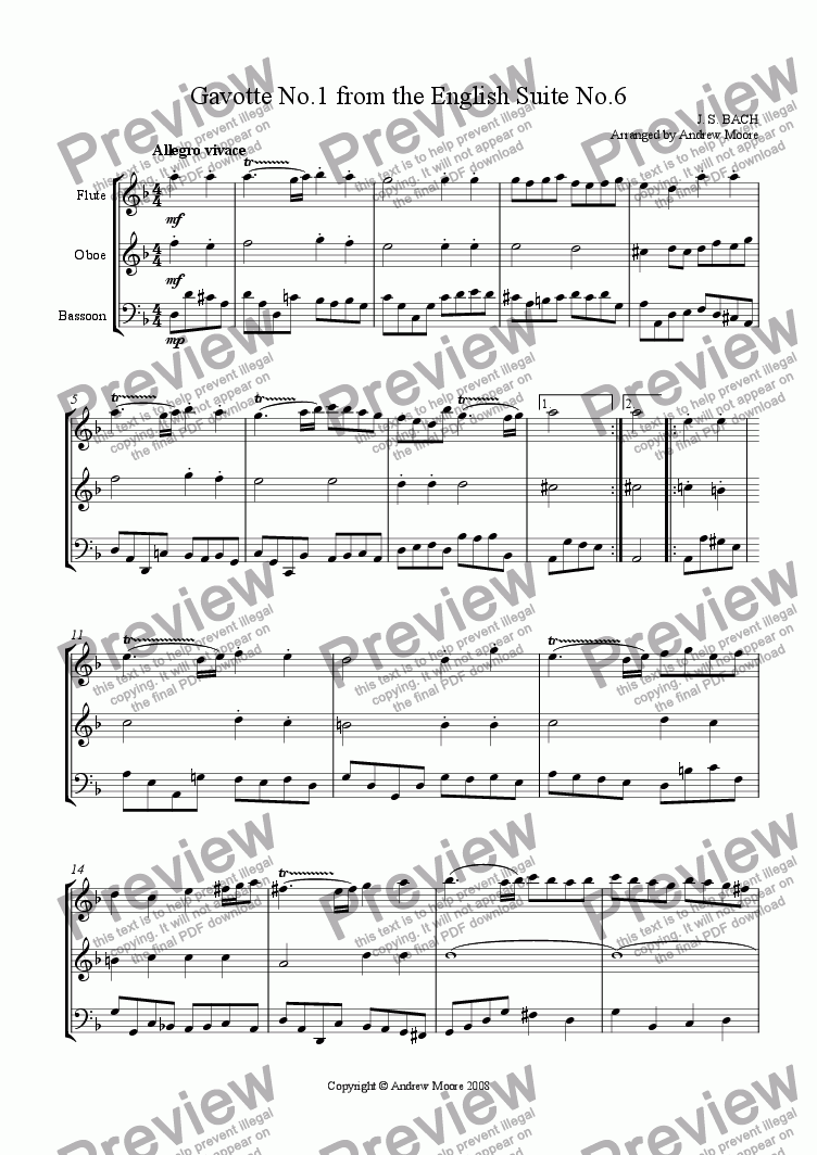 page one of 'Gavotte 1 from English Suite No 6' for Wind Trio