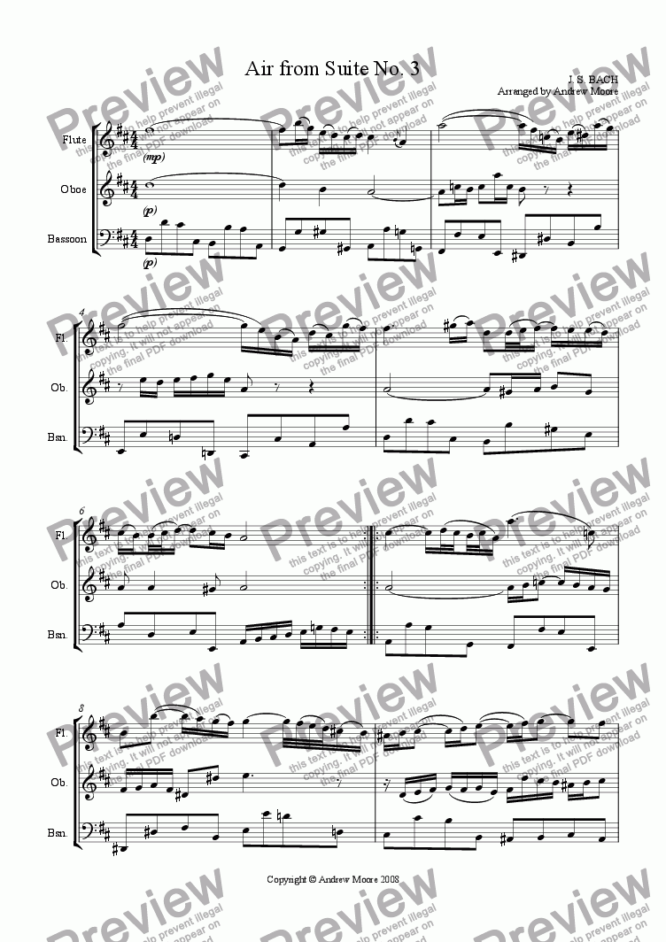 page one of Air from Suite No. 3 for Wind trio