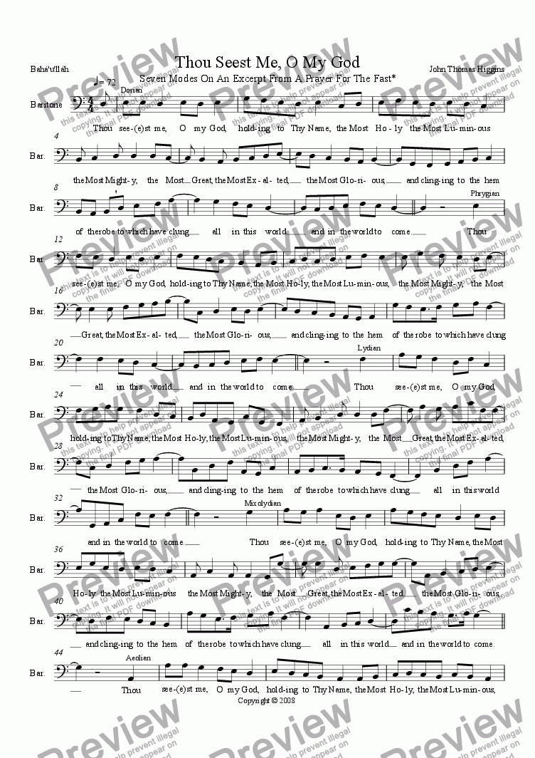 "page one of 18.4 ""Thou Seest Me, O My God""; Seven Modes On An Excerpt From A Prayer For The Fast"