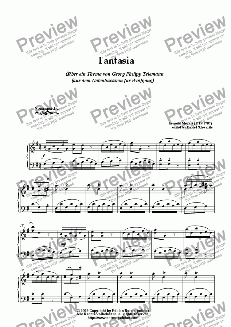 page one of Fantasia in G major from the Notenbuechlein (L. Mozart)