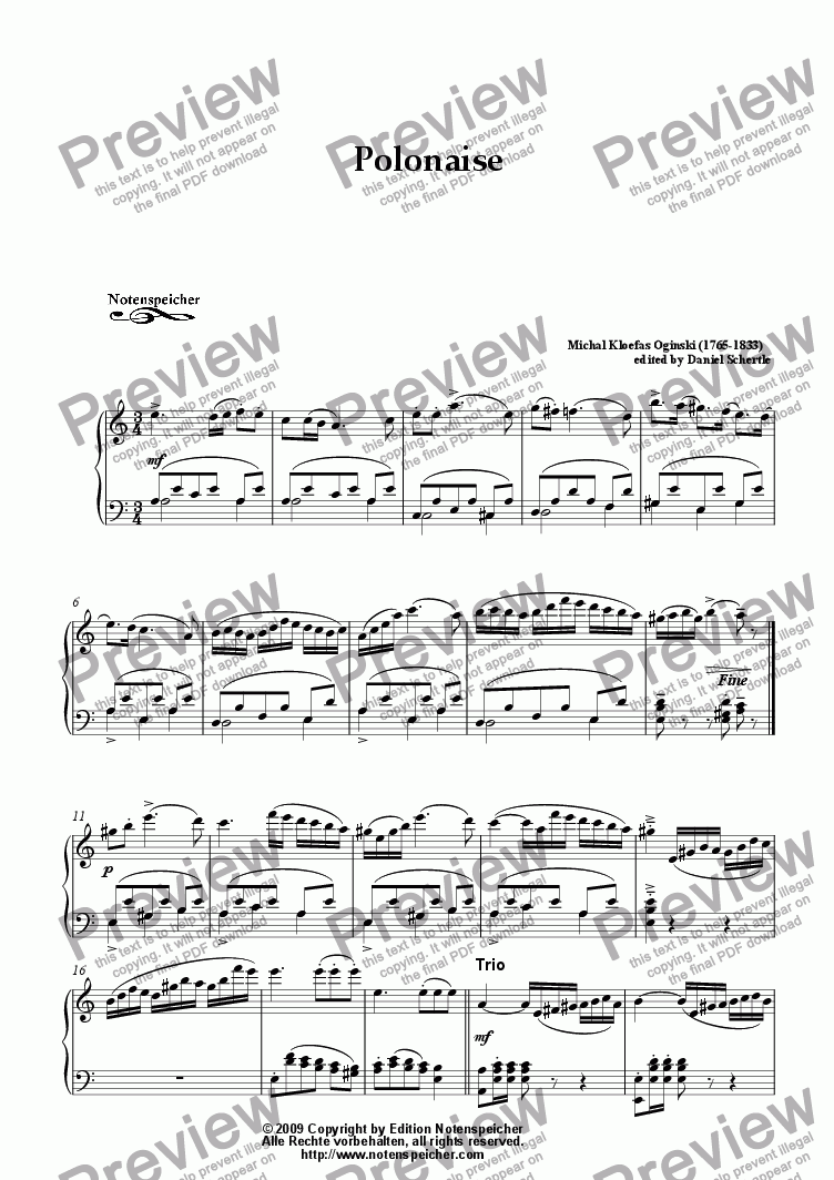 page one of Polonaise in A minor (M.C. Oginski)