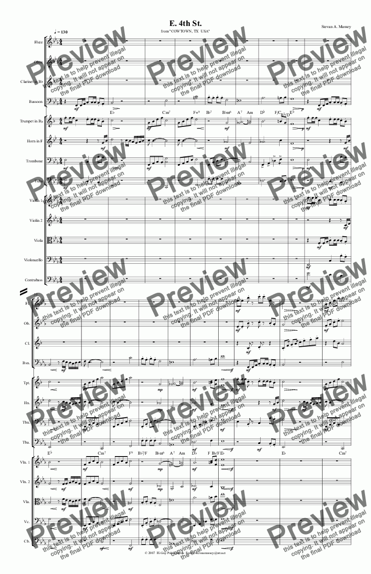 page one of E. 4th St.  (NEW CLASSICAL - large ensemble)
