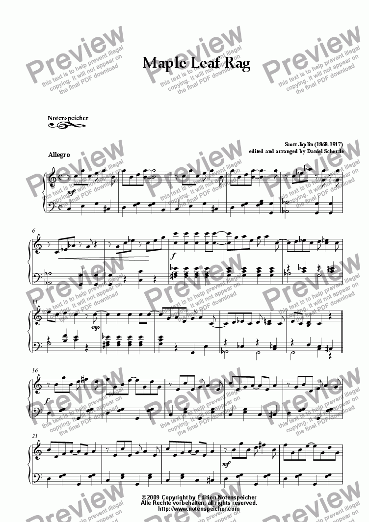 Maple Leaf Rag Very Easy Piano Version S Joplin Sheet Music Pdf