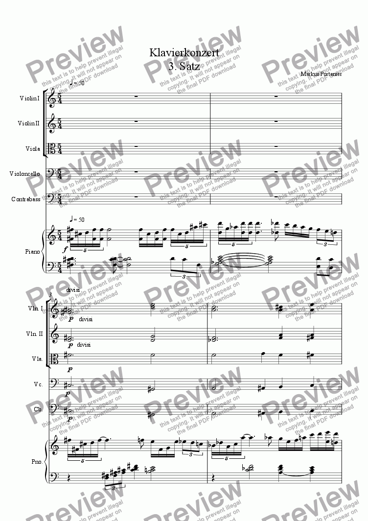 page one of Piano Concert 3rd Movement