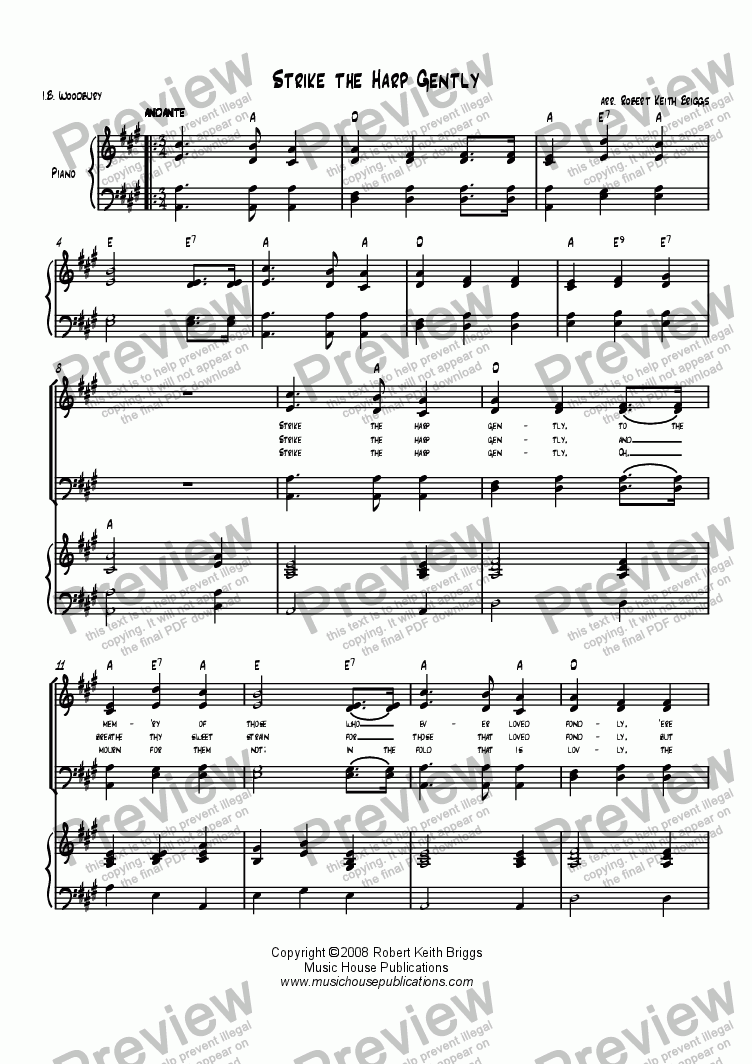page one of Strike the Harp Gently