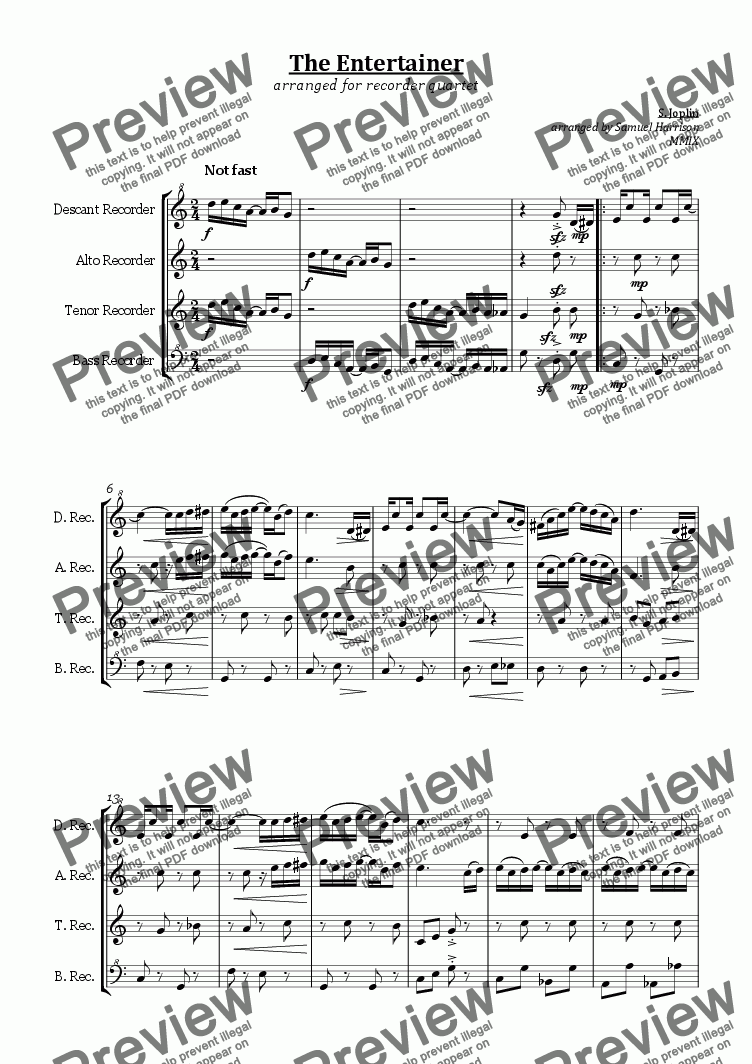 page one of The Entertainer (for recorder quartet)
