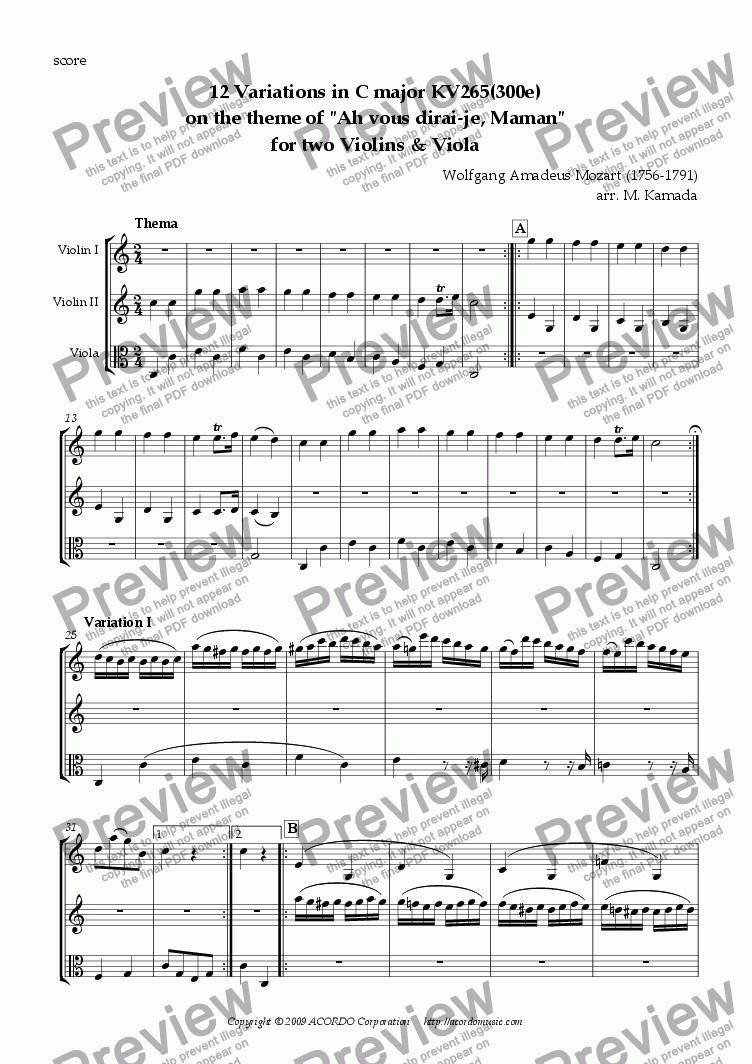 "page one of 12 Variations in C major KV265(300e) on the theme of ""Ah vous dirai-je, Maman"" for two Violins & Viola"