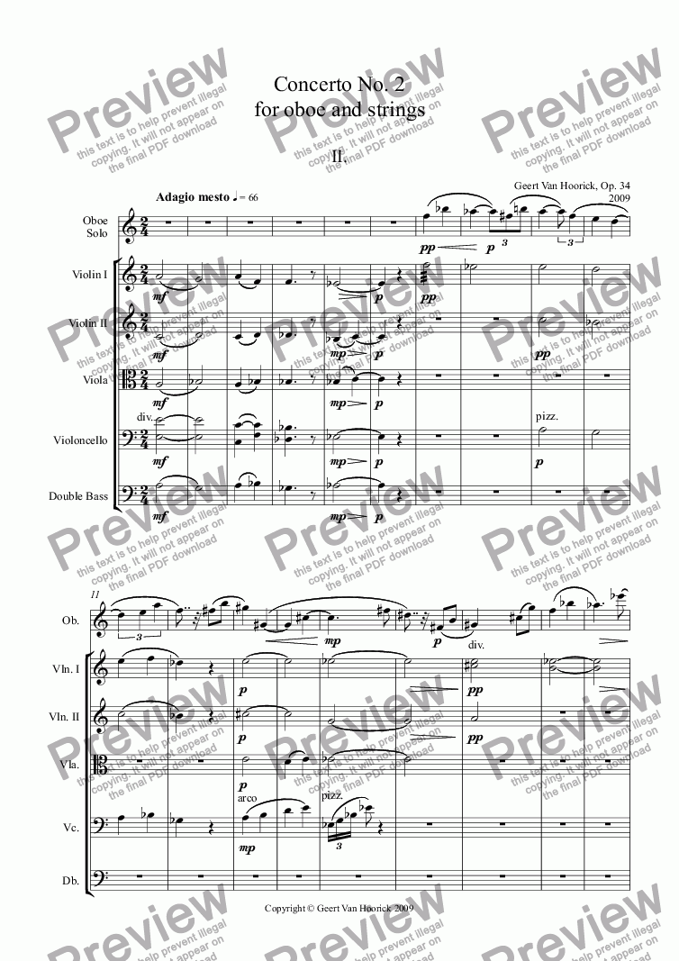page one of Concerto No. 2 for oboe and strings, Op. 34 - II. Adagio mesto