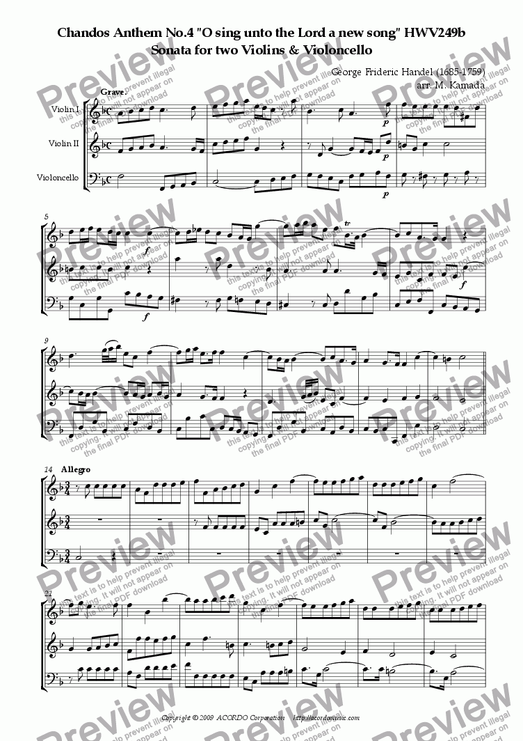 "page one of Chandos Anthem No.4 ""O sing unto the Lord a new song"" HWV249b Sonata for two Violins & Violoncello"