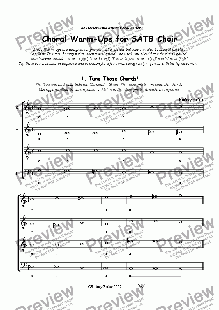 page one of Choral Warm-Ups for SATB Choir