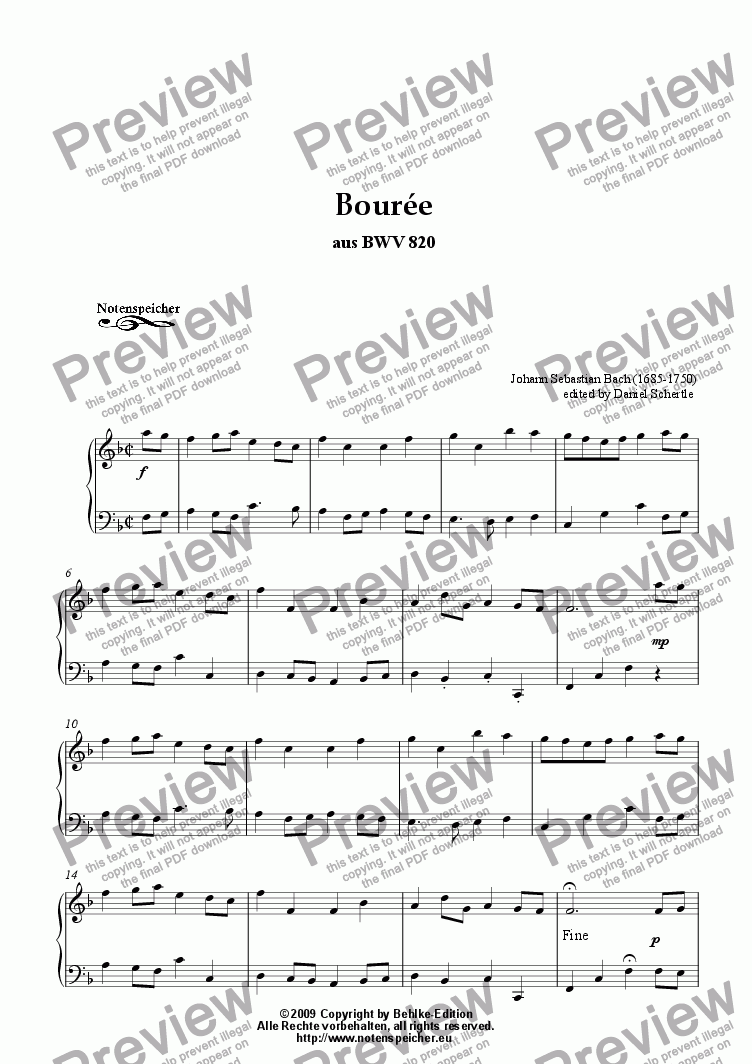 page one of Bouree in F major aus BWV 820 (J.S.Bach)