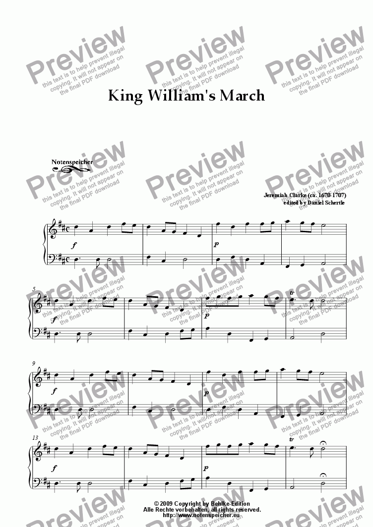 page one of King William's March in D (for piano by J.Clarke)