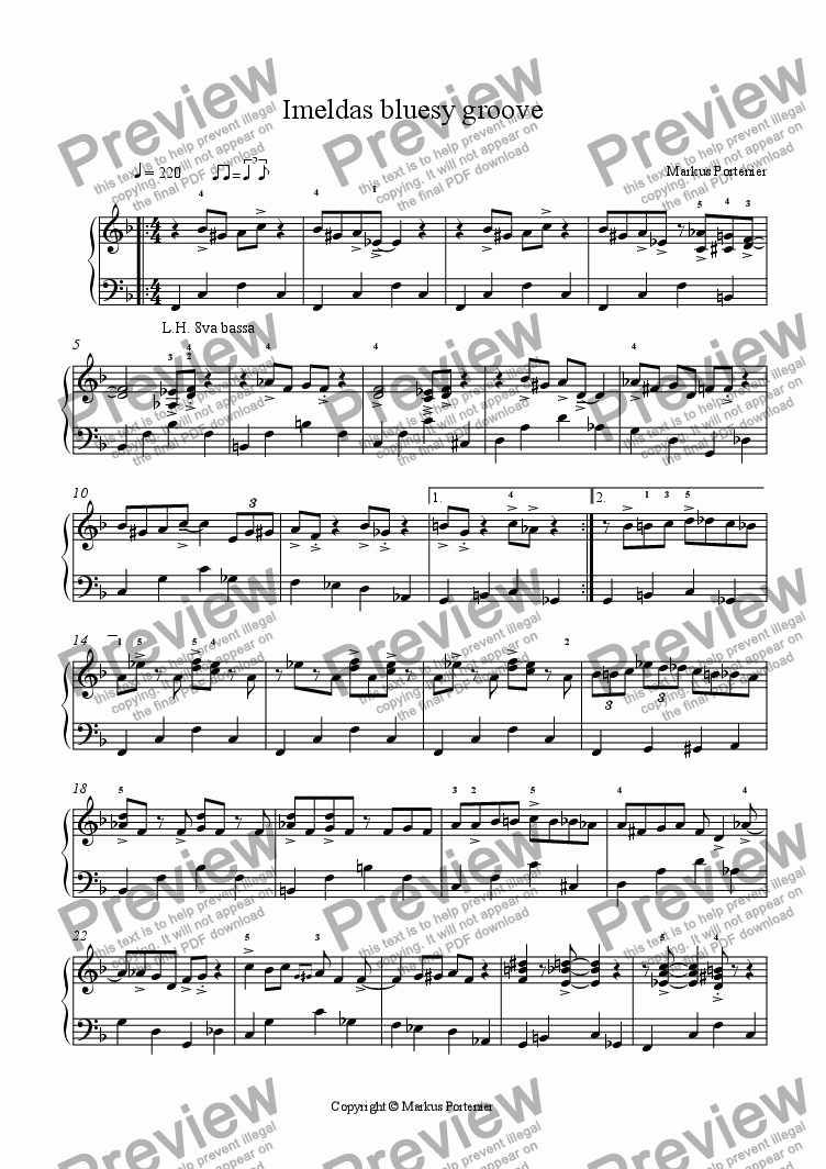 page one of Imeldas bluesy groove