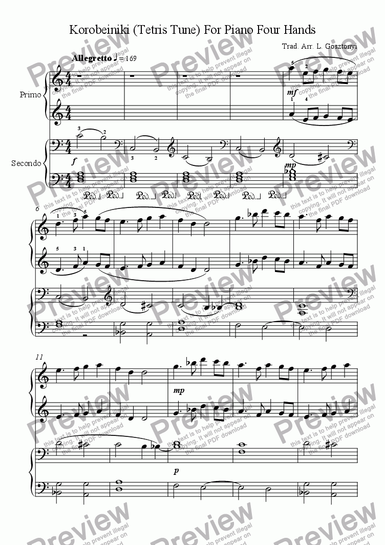 Korobeiniki Tetris Tune Piano Duet For Piano Four Hands By Trad Sheet Music Pdf File To Download
