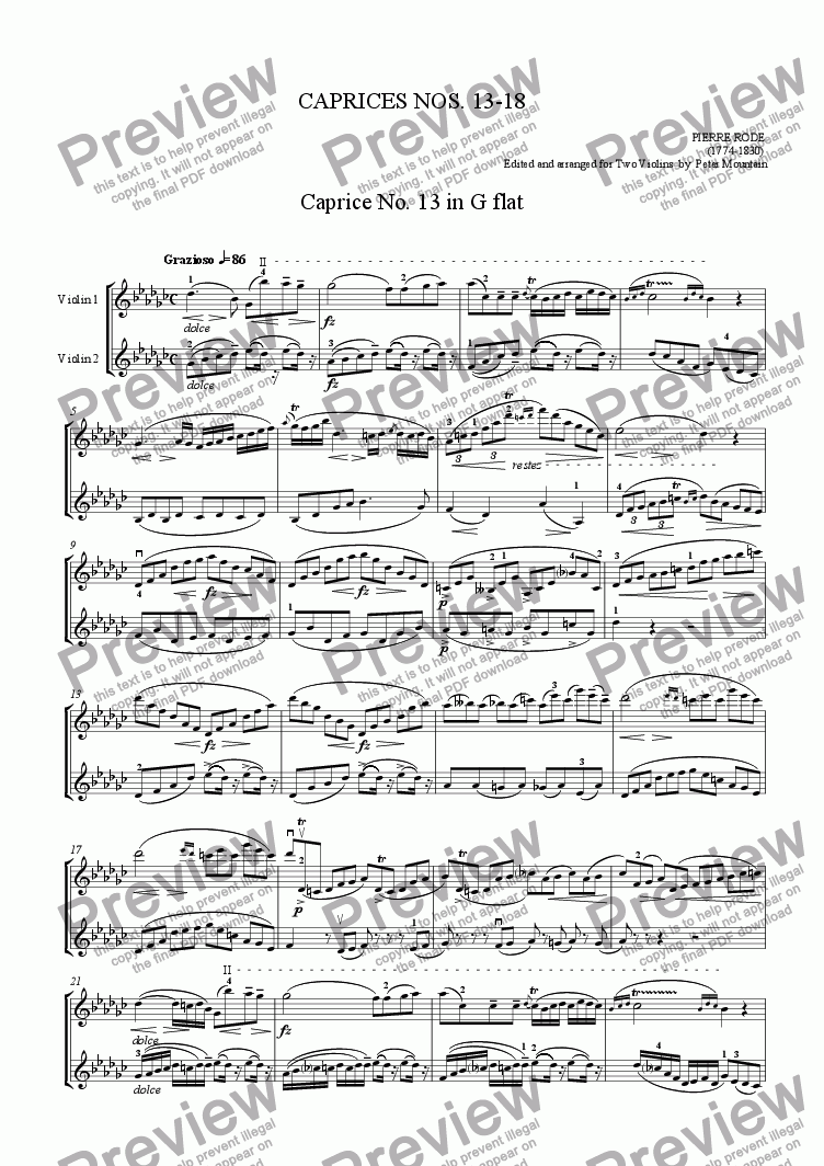 page one of Caprices Nos. 13-18 by Pierre Rode for Violin Duet