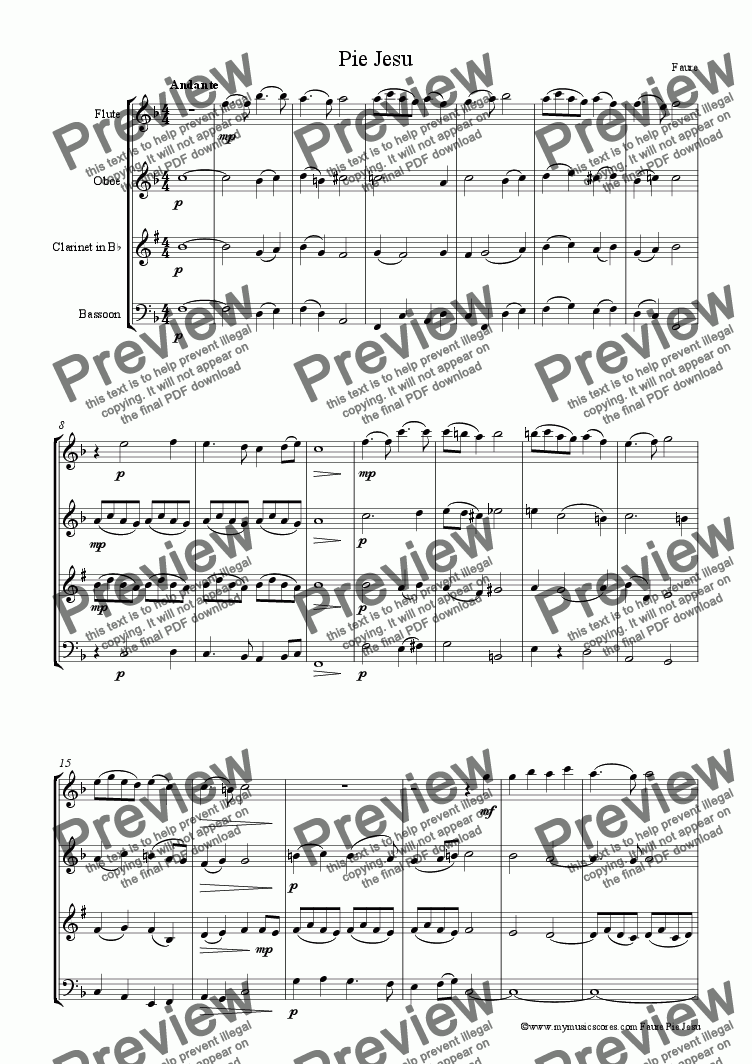 page one of Faure Pie Jesu for Wind Quartet