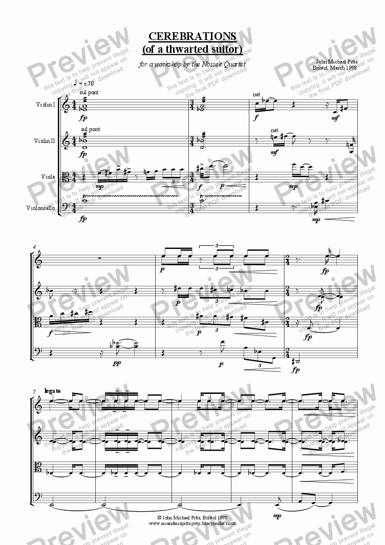 page one of Cerebrations (string quartet) [1998]ASALTTEXT
