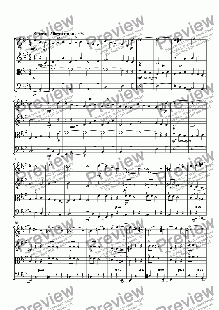 page one of String Quartet No. 2 (2nd mvt)