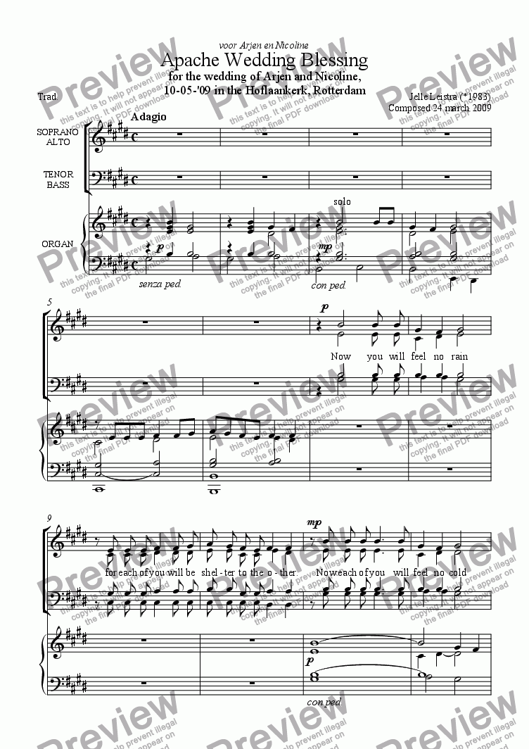 apache wedding blessing - download sheet music pdf file  score exchange