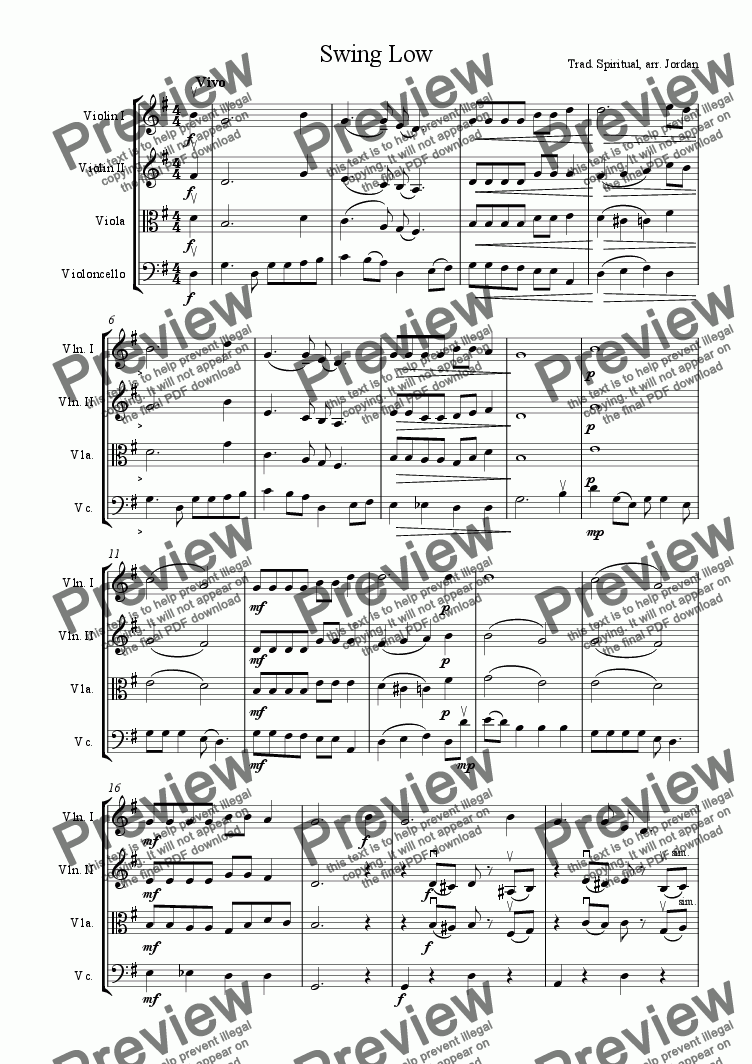 page one of Swing Low (string quartet)