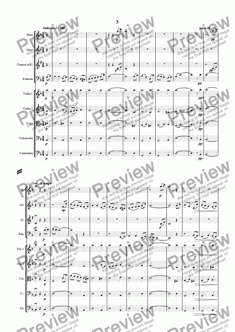 page one of Nonet - Third Movement