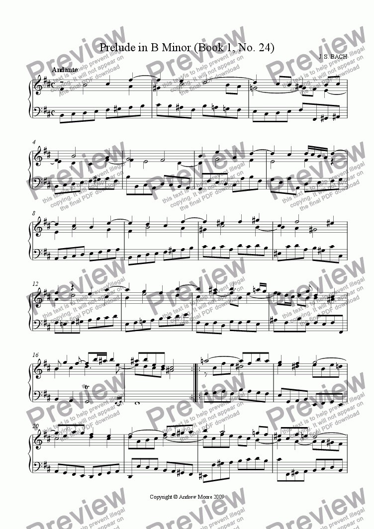 page one of Prelude in B Minor (Book 1, No. 24)