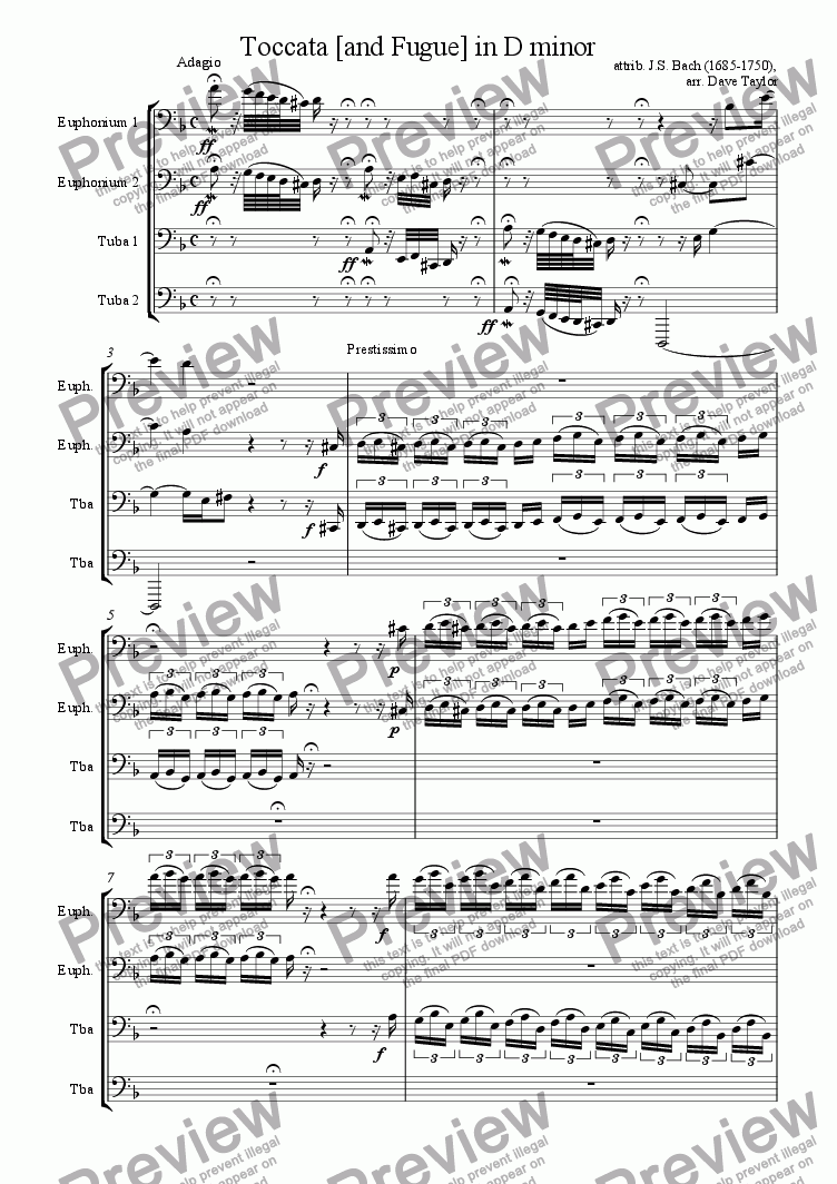 page one of Toccata [and Fugue] in D minor (tuba quartet)