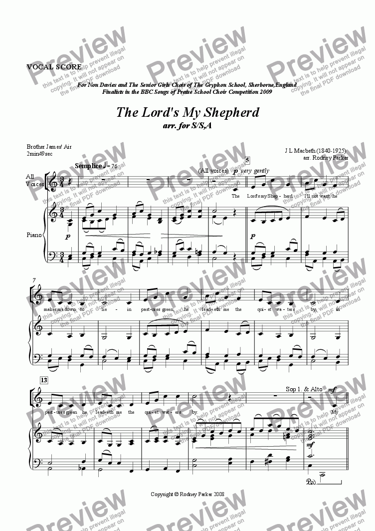page one of The Lord's my Shepherd arr. for S/S,A