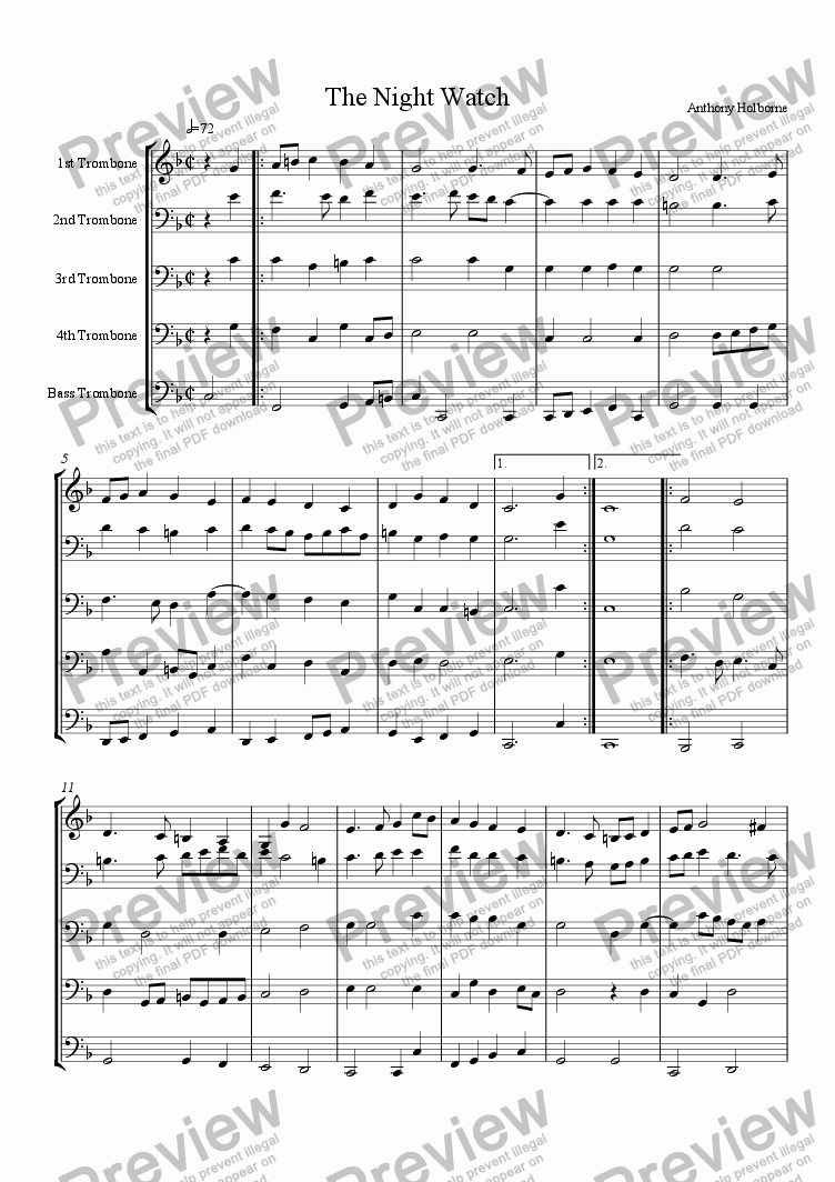 page one of Two Almaines, for Trombone Ensemble