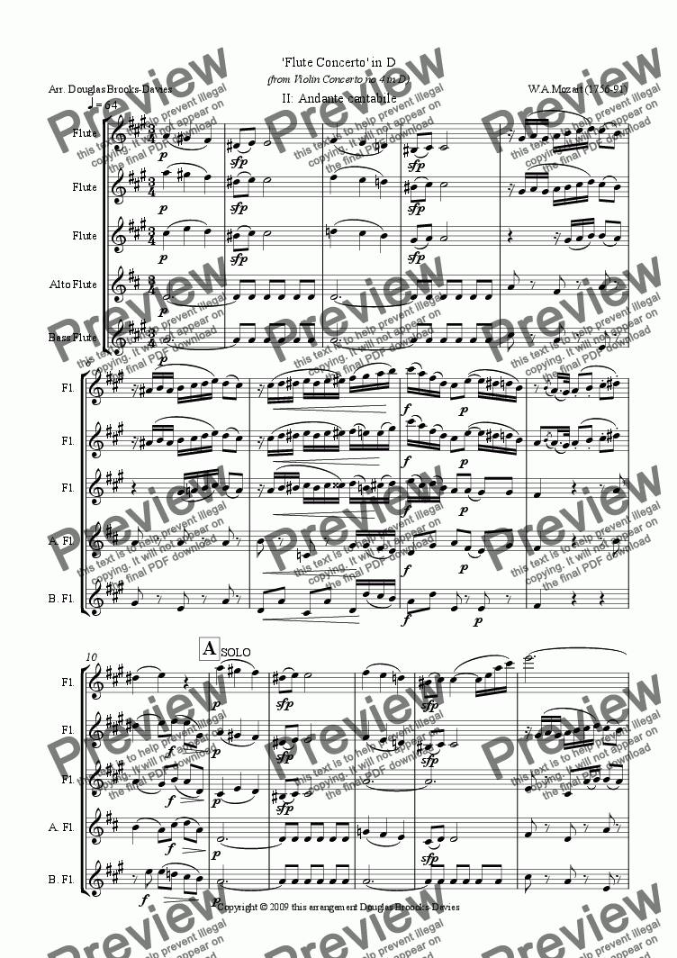 page one of Mozart, 'Flute Concerto' in D, after Violin Concerto no 4 (K. 218) for flute choir (3fl, afl,bassfl), movt 2, Andante cantabile.