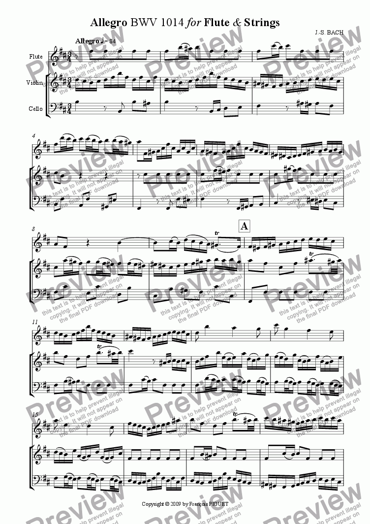 page one of Allegro BWV 1014 for Flute & Strings