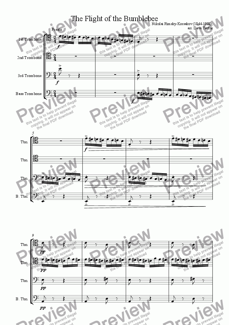 page one of Flight of the Bumblebee (trombone quartet)