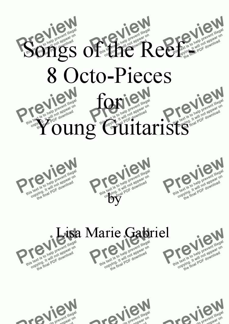 page one of Songs of the Reef - 8 Octo-Pieces for Young Guitarists (with TAB)