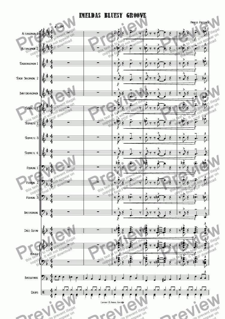 page one of Imeldas bluesy groove Big Band version