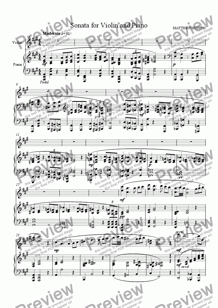 page one of Violin Sonata in A (1st mvt)