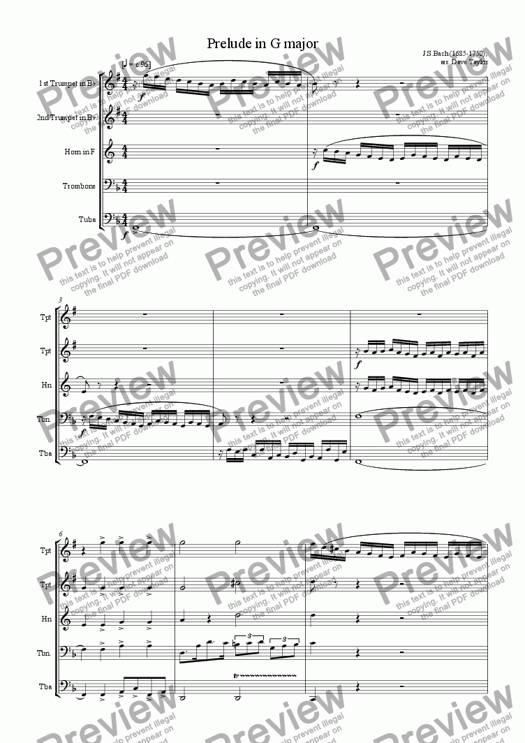 page one of Prelude in G major, BWV 568 (brass quintet)