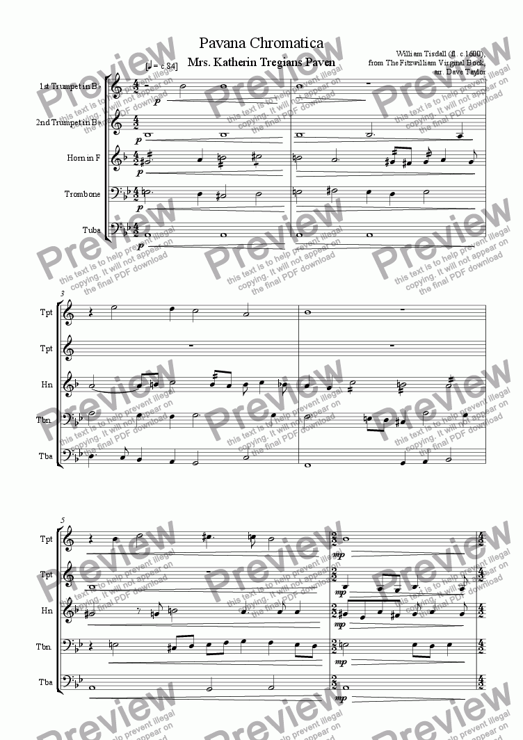 page one of Pavana Chromatica - Mrs Katherin Tregians Paven (brass quintet)