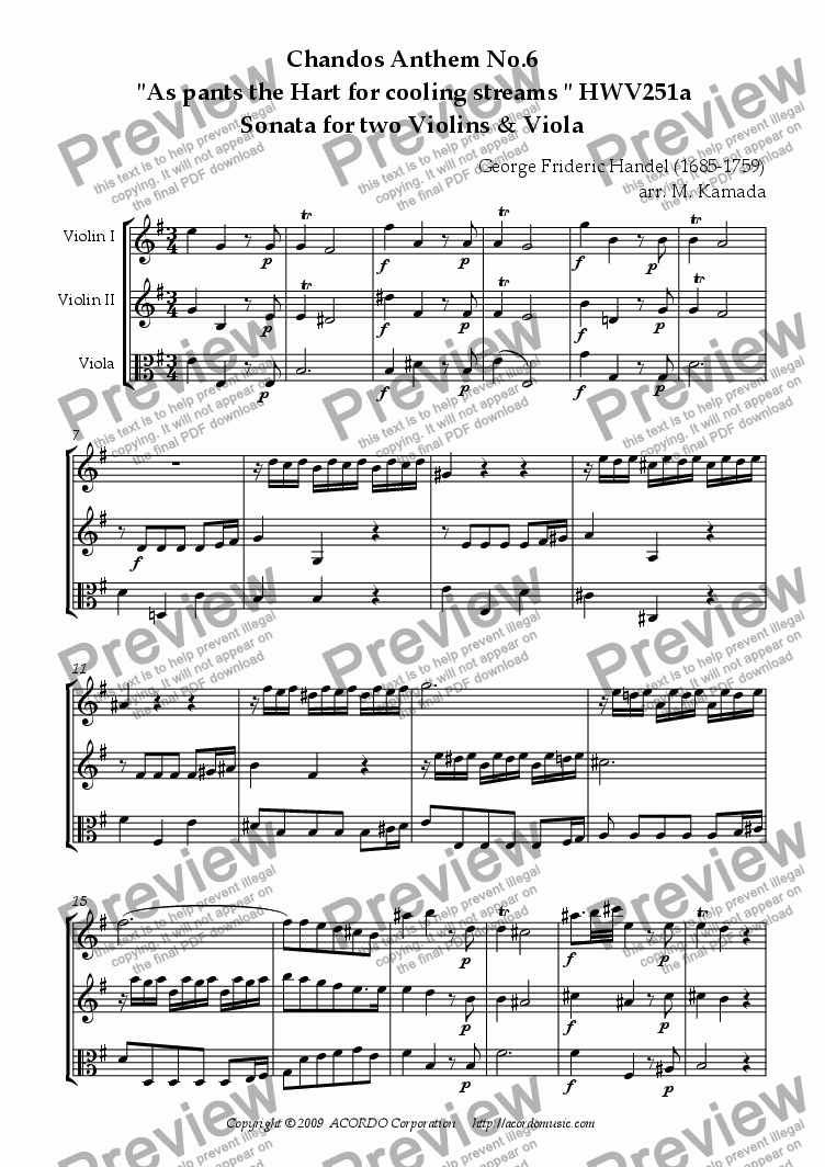 "page one of Chandos Anthem No.6  ""As pants the Hart for cooling streams"" HWV251a Sonata for two Violins & Viola"