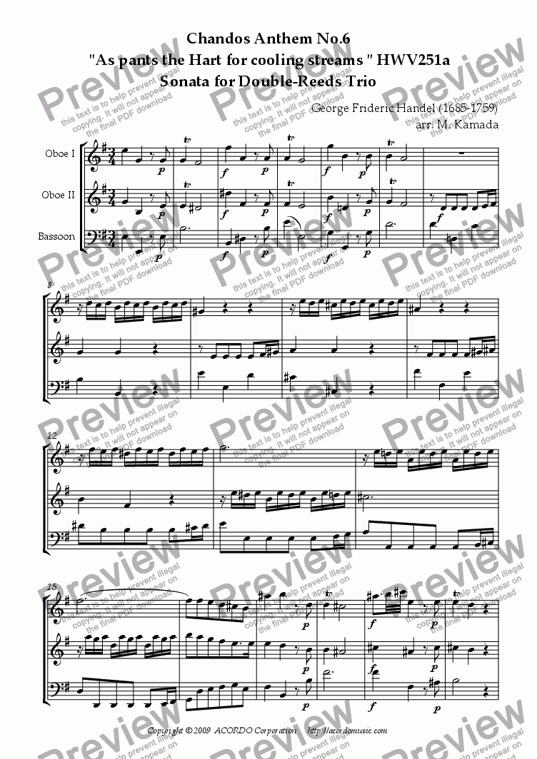 "page one of Chandos Anthem No.6  ""As pants the Hart for cooling streams"" HWV251a Sonata for Double-Reeds Trio"