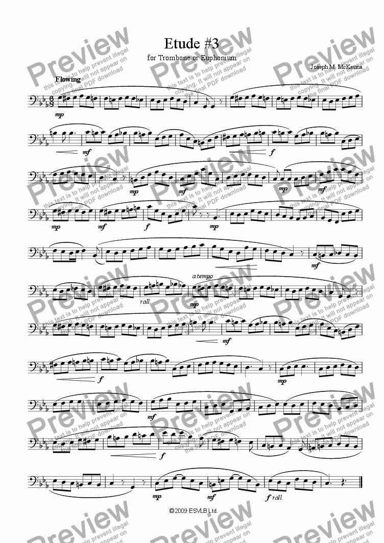 page one of Etude #3 for Trombone or Euphonium