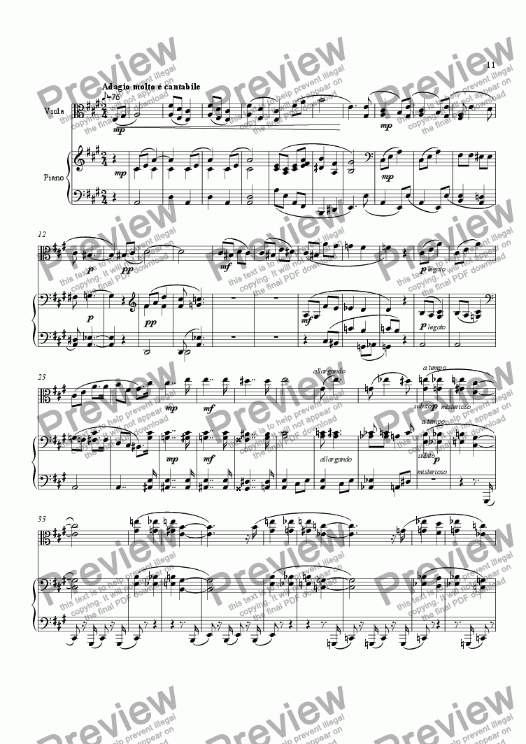 page one of Viola Sonata in E minor (2nd mvt)