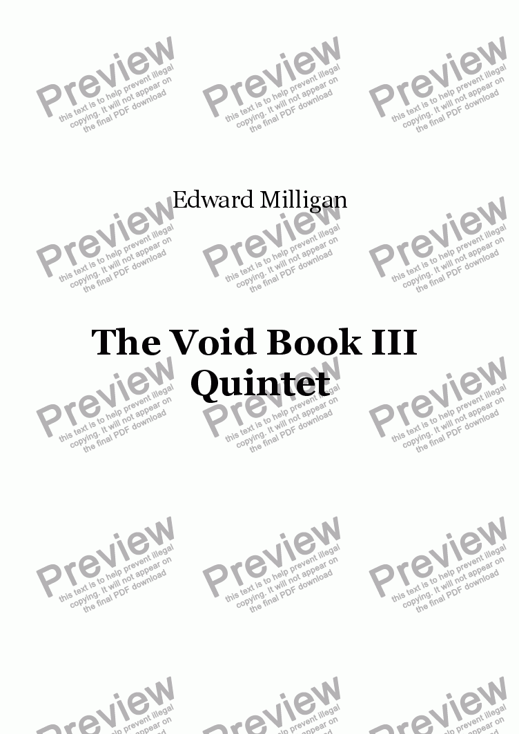 page one of The Void Book III, (For Woodwind Quintet)